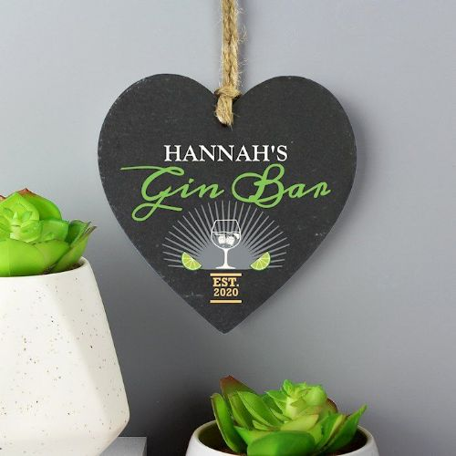 Gin Bar Slate Heart Decoration